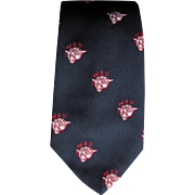 Vintage WSU Cougars Wide Necktie with Roaring Cougar in School Colors on Navy Blue