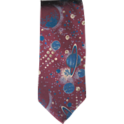 Vintage Silk Necktie with Planets of the Solar System in Blue and Plum