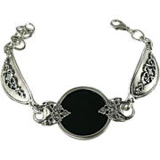 Black Onyx and Sterling Bracelet.