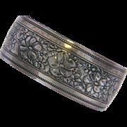 Danecraft Wide Sterling Repousse Floral Cuff Bracelet.