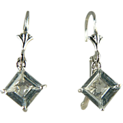 Aquamarine Earrings~14k White Gold~Pierced.