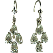 SALE Chandelier Aquamarine Earrings~14k White Gold~Pierced.