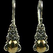 Two Tone Sterling Drop Earrings.
