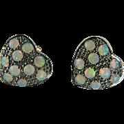 SALE Victorian Heart Shaped Opal Earrings~9K