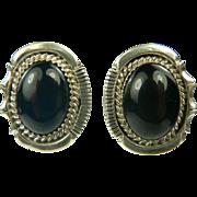 SALE Sterling Black Onyx Earrings~Pierced.