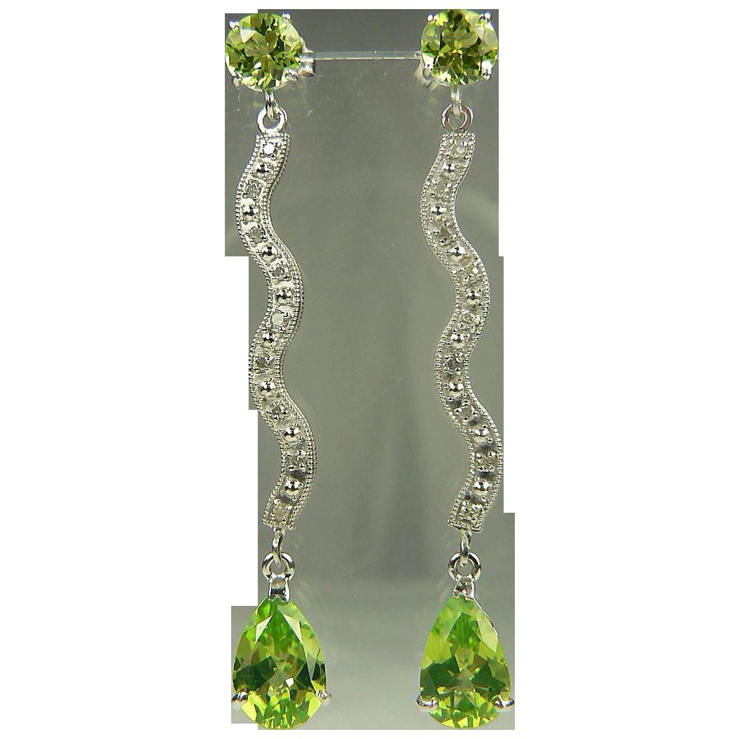Peridot & Diamond Drop Earrings~14k.