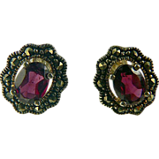 SALE Garnet & Marcasite Sterling Stud Earrings.