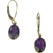 Amethyst Drop Earrings In 14k Yellow Gold.