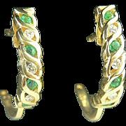 SALE 14k Natural Emerald and Diamond Hoop Earrings.