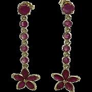 SALE Natural Ruby Earrings-14k.