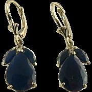 SALE 14k  10.5 CWT Genuine Blue Sapphire Earrings, Pierced.