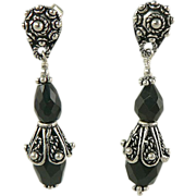 Black Onyx Drop Earrings -~Sterling ~ Pierced.