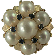 SALE 1960's Freshwater Cultured Pearl & Sapphire Cocktail Ring~14k~Size 6.