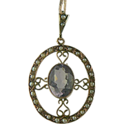 Victorian Amethyst & Seed Pearl Pendant Necklace~14K.
