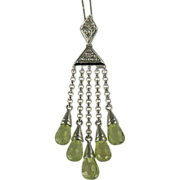 SALE Dazzling Peridot & Diamond Necklace Crafted in 14k White Gold.