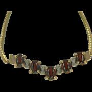 SALE Garnet & Diamond Necklace in 10k Yellow Gold.