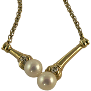 SALE Freshwater Cultured Pearl & Diamond Necklace- 10k - C. 1950.