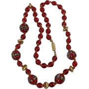 SALE Vintage Cherry Red Wedding Cake Beaded Necklace.