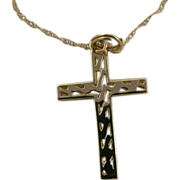 SALE 14k Gold Cross with Matching Chain