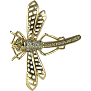 SALE 14k Diamond   Dragonfly Brooch.
