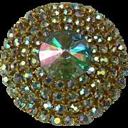 SALE Iridescent Weiss Circle Brooch.