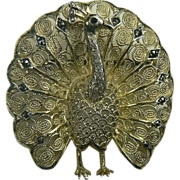 SALE Sterling Peacock Brooch-Alice Caviness