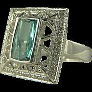 SALE 1950's Green Tourmaline & Diamond Ring - 14k - Size 8.