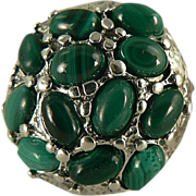 SALE Amazing Malachite Sterling Nugget Ring, Size 7.