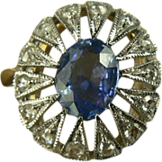 SALE Ceylon and Sapphire Ring-14k-Size 7.