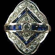 SALE Art Deco 18k Blue Sapphire and Diamond Ring - Size 5 1/2