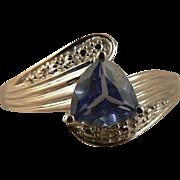SALE Sapphire & Diamond Ring -10k White Gold, Size 7