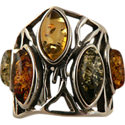 Multi Colored Amber Ring- Sterling Silver, Size 7.