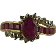 SALE Genuine Ruby & Diamond Ring Styled in 10k, Size 7.  C. 1950.