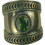 Peridot Sterling Cigar Band Ring-Size 7.