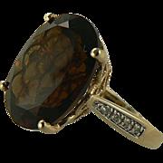 SALE Smokey Quartz & Diamond Ring -14k - Size 7.