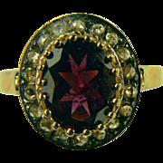 SALE Mid-Century Mine Cut Diamond and 14k Gold Garnet Ring-Size 7.