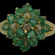 Emerald & Diamond Ring-14k-Size 7.