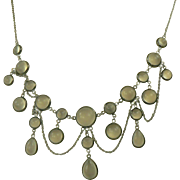 SALE Old Moonstone Festoon Necklace-Sterling.