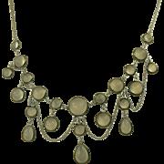 SALE Old Moonstone Festoon Necklace-Sterling.