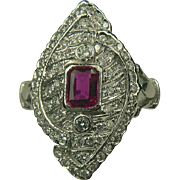 SALE 18k Art Deco Ruby and Diamond Ring~Size 6.