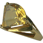 SALE 7 CWT Triangle Cut Citrine Ring-14k-Size 8.