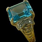 SALE 5 CWT Topaz & Diamond Ring-10K-Size 7 3/4.