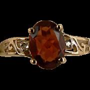 SALE Garnet & Diamond Ring-10k- Size 7.25.
