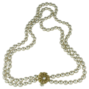 """SALE 22"""" Double Strand Miriam Haskel Faux Baroque Pearl Necklace"""