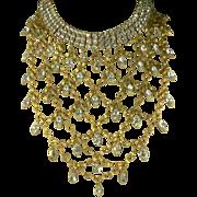 SALE Vintage Vegas Showgirl Crystal Bib Necklace.