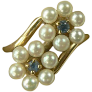 Sapphire & Freshwater Cultured Pearl Ring~14k~Size 5.