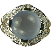 14k Diamond & Blue Chalcedony Ring-Size 6 1/4.