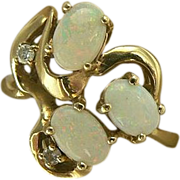 Swirl Opal & Diamond Ring-14k Size 7.