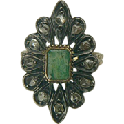 Edwardian 14k Chrysoprase and Mine Cut Diamond Ring-Size 6 1/2.