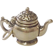 Vintage Teapot Sterling Charm ~ movable lid